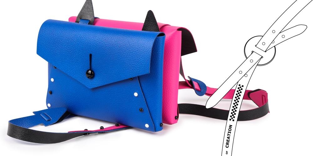 borsa pollicina double è una doppia borsa composta assemblata costruita unendo due borse pollicina insieme utilizzando i lacci e la tracolla in pelle inclusa nel kit puoi divertirti a creare la combinazione colore che preferisci e cambiarla quando vuoi perché tutte le parti sono in vera pelle double face reversibile